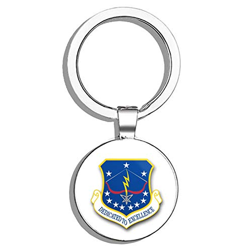 HJ Media US Air Force 115th Fighter Wing Military Veteran USA Pride Served Metal Round Metal Key Chain Keychain Key Ring ()