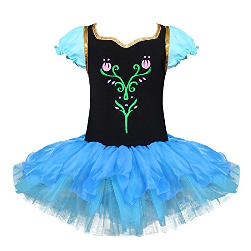 FEESHOW Girls Snowflake Ballet Leotard Dance Tutu Dress Party Dancewear Costume Size 3-4 Black]()