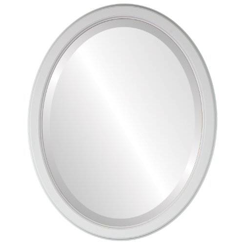 Oval Beveled Wall Mirror for Home Decor - Toronto Style - Linen White - 20x26 outside dimensions by Oval And Round Mirrors