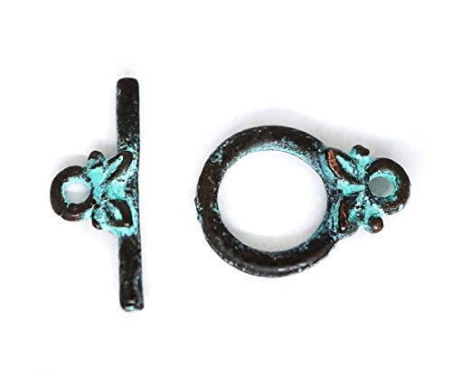 4 Sets Olive Leaf Toggle Clasp Turquoise Green Copper Verdigris Patina Metal Mykonos Greek Casting Findings Beads Charms Jewelry Making