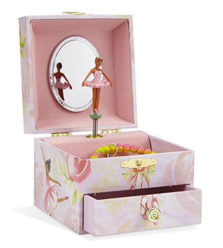 JewelKeeper Musical Jewelry Box, Pink Rose Ballerina Design with Pullout Drawer, Swan Lake Tune