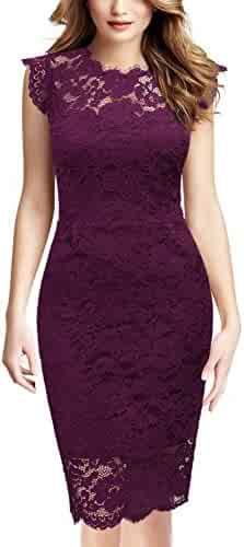 3ba96765a78453 Miusol Women's Casual Retro Floral Lace Slim Evening Party Dress