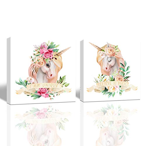 - Lovely Unicorn Pictures Canvas Wall Art Watercolor Hand Painting on Canvas Flower Unicorns Home Wall Art Decor for Living Room Kids Room Girls Bedroom Walls Artwork,12x12 inch x 2 Pcs Frmaed Picture