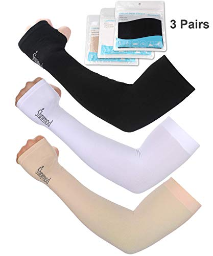 Female Arms - SHINYMOD UV Protection Cooling Arm Sleeves for Men Women Sunblock Cooler Protective Sports Running Golf Cycling Basketball Driving Fishing Long Arm Cover Sleeves (3 Pairs (Black+White+Beige))