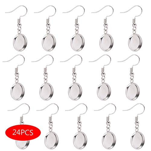 Forise 24pcs Silver Earrings Blank with Earring Hook and 12mm Cabochon Settings Tray Fit for DIY Jewelry Making Earring (Earring Findings) ()