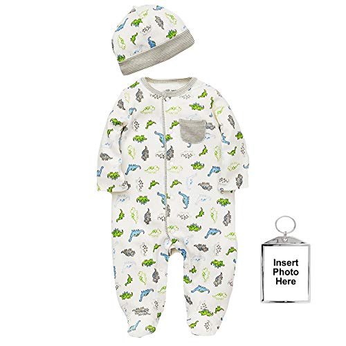 Little Me Tiny Dino Footie Pajamas Boys Footed Sleeper and Hat Off-White 6 Months ()