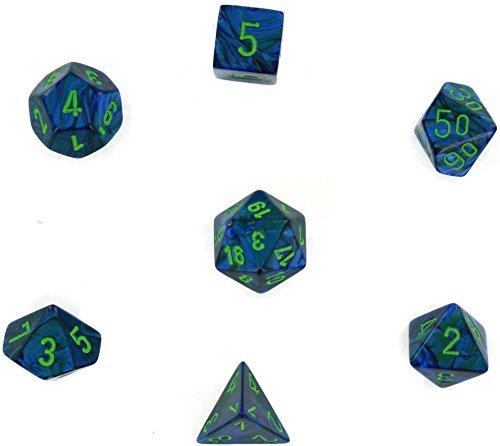 Chessex Manufacturing 27496 Lustrous Dark Blue With Green Numbers Dice Set Of 7 Ultimate Blue Green