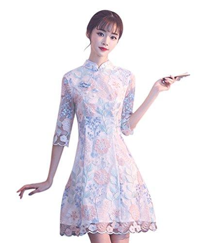 Short Sleeve Cheongsam Dress - Seacolor Women's Cocktail Dress Vintage Black Floral Short Sleeve Cheongsam Qipao Dresses