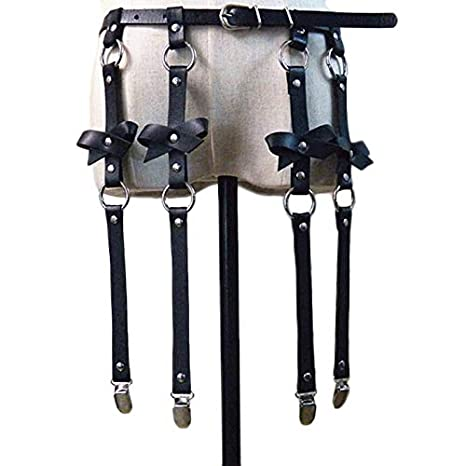 56e4338e58b Amazon.com  Mini Mexx Unisex Men Women Sexy Punk Leather Waist Cincher  Garter Belt with 4 Suspenders Straps and Detachable Bow Thigh Harness Loop   Kitchen   ...