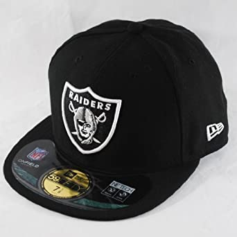 NEW ERA 59fifty OAKLAND RAIDERS FITTED FLAT PEAK BLACK WHITE BASEBALL HAT  CAP  Amazon.co.uk  Clothing 2ce6e9174d1