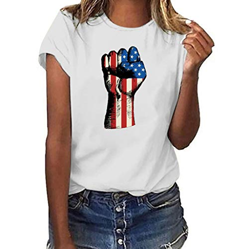 USA Flag T-Shirts,Pengy Women's Plus Size National Flag Independence Day Print Short Sleeve T-Shirt Tops
