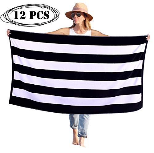 Peach B&C Beach Towel Cabana Terry Velour Soft Turkish Cotton | Extra Absorbent - Quick Fast Drying - Sand Free | Perfect for Bath & Travel & Pool & Sports & Spa & Swimming (12, Black) ()