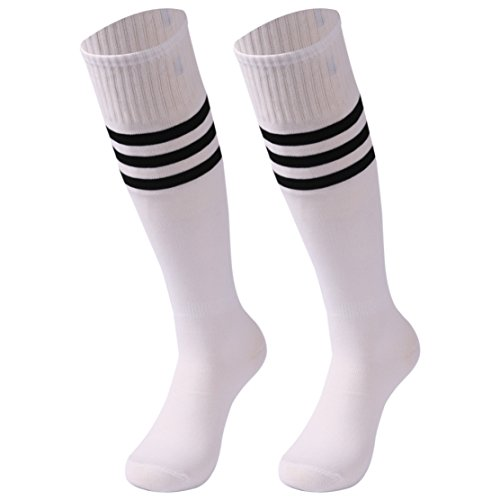 saounisi Unisex Soccer Socks,2 Pairs Football Stockings Knee High Tube Long Team Socks Size 9-13 Black Stripe