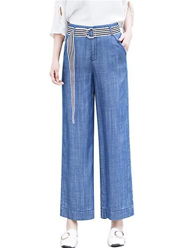 Omoone Women's High Waist Wide Leg Tencel Denim Pants Soft Loose Palazzo Jeans(Blue ()