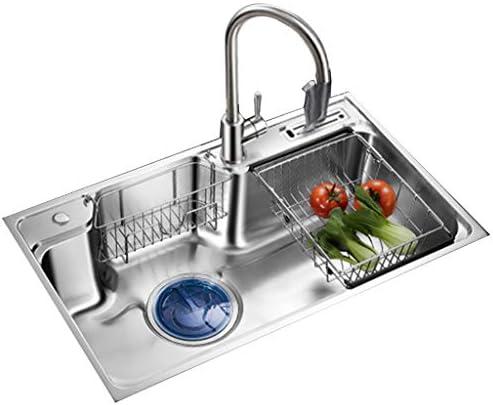 流し台シンク ナイフホルダー付きステンレススチール製キッチンダブルスロット 居間の洗面台 レストランの野菜と果物の洗浄テーブル (Color : Gray, Size : 75*48cm)