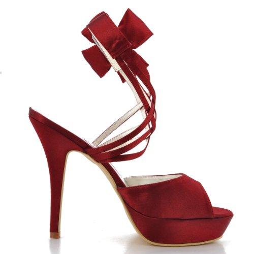Elegantpark - Sandalias de satén para mujer Rosa rosa 42