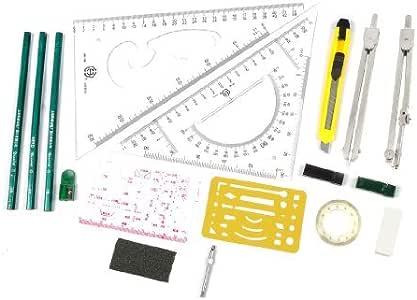 DealMux Estudiante Plotter Combo Mapper dibujo mecánico Compás Herramientas 16pcs: Amazon.es: Oficina y papelería