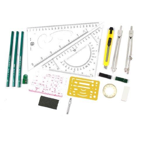 eDealMax Student Plotter Combo Mapper Disegno meccanico Instruments Compass Strumenti 16pcs (Student Plotter)