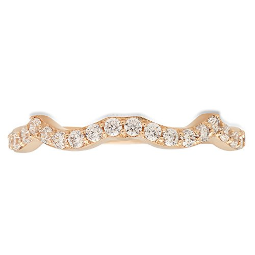 Clara Pucci 0.40 ct Brilliant Round Cut CZ Designer Wavy curved scalloped Stacking Band In Solid 14K Yellow Gold by Clara Pucci