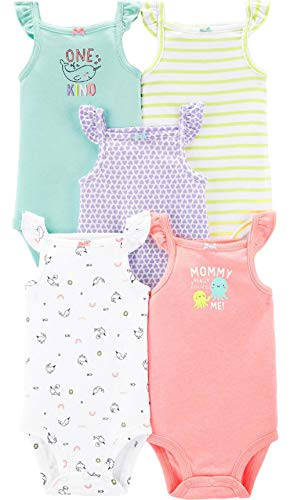 Carter's Baby Girls 5 Pack Bodysuit Set (Flutter Tank, 9 Months)