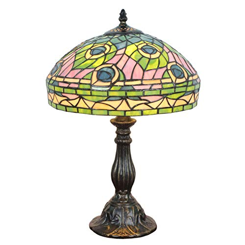 FBOSS Tiffany Style 12 Inch Colored Peacock Feathers Stained Glass Table Lamps