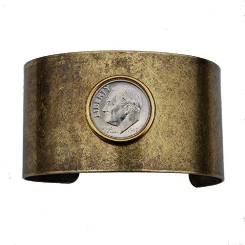 (US 1947 Roosevelt Dime 90% Silver BU Uncirculated Coin Solid Brass Antique Finish Cuff Bracelet)