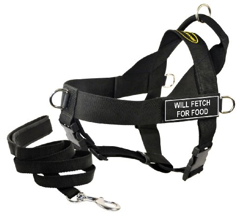Dean & Tyler's DT Universal ''WILL FETCH FOR FOOD'' Harness, X-Large, with 6 ft Padded Puppy Leash. by Dean & Tyler