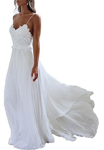 Monkidoll Women's Chiffon Beach Wedding Dresses White US 6
