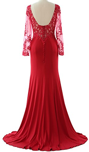 MACloth Women Long Sleeve Mermaid Lace Jersey Formal Prom Dress Evening Gown Champagne