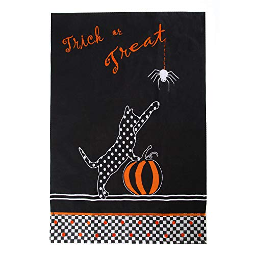 MacKenzie-Childs Trick or Treat Dish Towel - Black and White Check Halloween Cat Towel