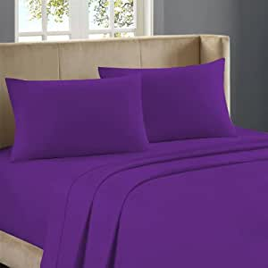 Nile Bedding Extra Sumptuous 100 Percent Egyptian Cotton Duvet Set with 2 Pillowcases 450 TC Solid (Queen , Purple)