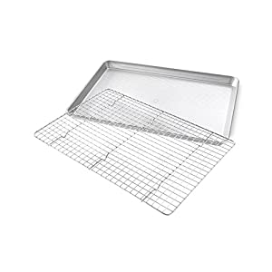 USA Pan Half Sheet Baking Pan and Bakeable Nonstick Cooling Rack, Metal