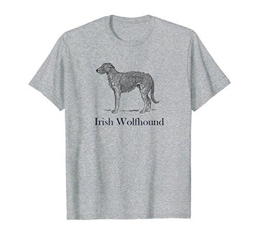 Mens Irish Wolfhound Celebration T-shirt Black Image Text XL Heather Grey