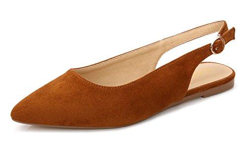 ComeShun Womens Shoes Suede Closed Toe Flats Slingback Dress Pumps (37 EU/6 US, Camel)