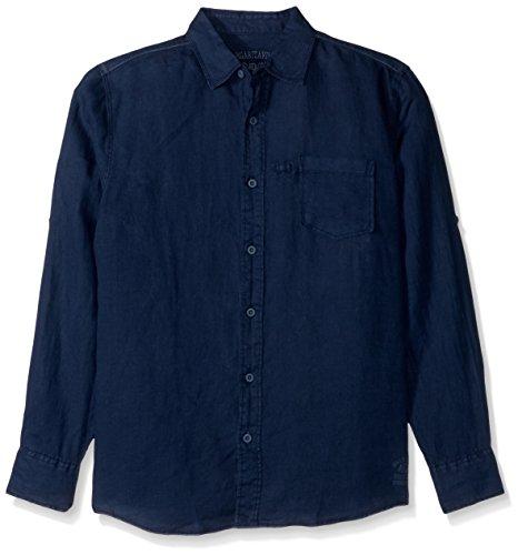 Margaritaville Men's L/s Cabana Linen Shirt, Navy, L