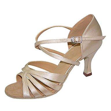 RUGAI-UE Woherren Latin Seide Sandale Leistung Criss-Cross Stiletto Heel Heel Heel Beige 3  - 3 3 4  Anpassbare 2e6273