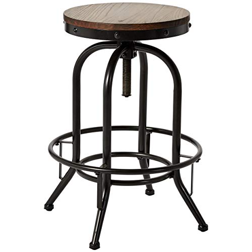 Pioneer Square Dane Metal-and-Wood Bar-Height Swivel Bar Stool, Set of 2, Country Brown