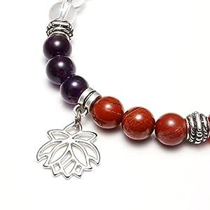 Jovivi 7 Chakras Yoga Meditation Healing Balancing Round Stone Beads Stretch Bracelet with Tree of Life Lotus Charm