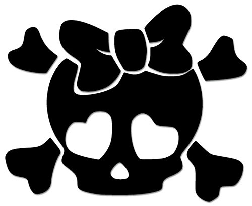 Death Skull Crossbones Cute Girl Bow Tie Vinyl Decal Sticker For Vehicle Car Truck Window Bumper Wall Decor - [6 inch/15 cm Wide] - Matte BLACK Color