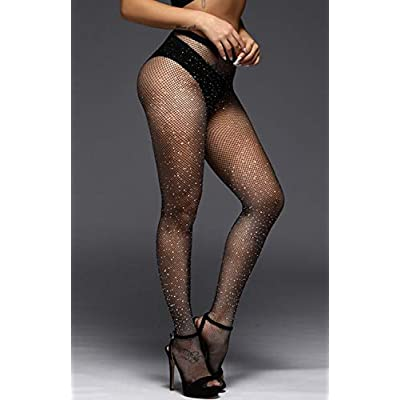 Betteraim Women's Hollow Out Rhinestone Fishnet Pantyhose Tights at Women's Clothing store