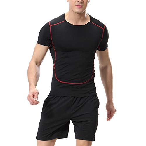 YAYUMI Mens Fashion Sports ShirtsFitness Short Sleeves,T-Shirt Bodybuilding Skin Tight-Drying Tops Red