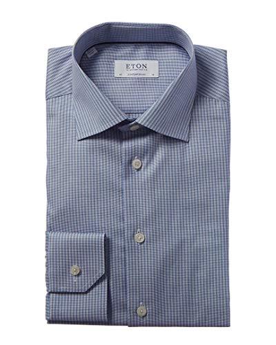 Eton Mens Contemporary Fit Dress Shirt, 38, Blue