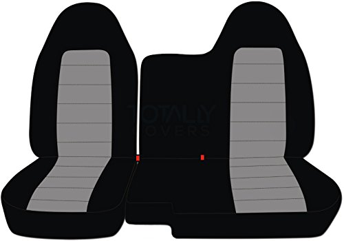 Totally Covers Fits 1998-2003 Ford Ranger/Mazda B-Series Two-Tone Truck Seat Covers (60/40 Split Bench) - No Armrest/Console: Black and Gray (21 Colors) 1999 2000 2001 2002
