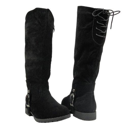 Low Heel Faux Suede Knee High Riding Boots Brown Lace Back Women shoes Black rR8Qz