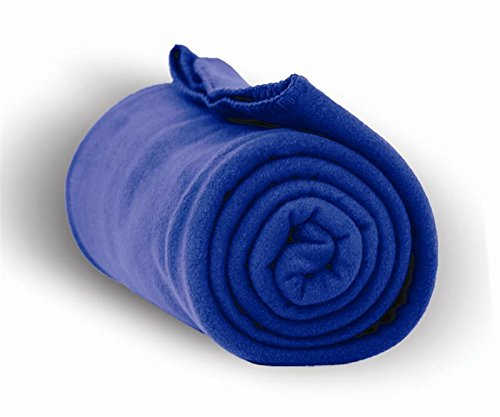 50 INCH X 60 INCH HEAVYWEIGHT AND ANTI-PILL FLEECE THROW, Royal, Case of 24