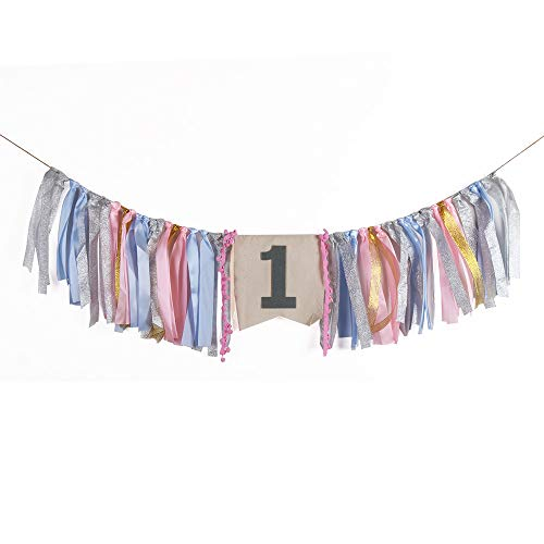 QIYNAO Handmade Pink and Silver One Banner - First Baby Birthday Decorations Burlap Highchair Banner