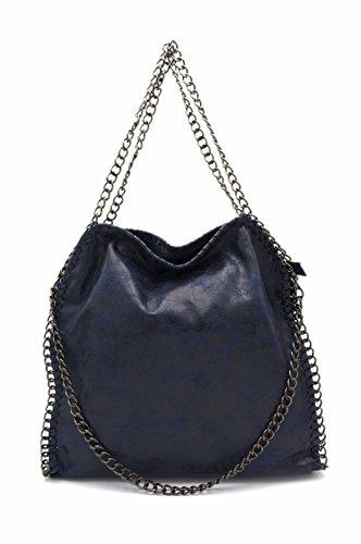 Hello Bag–Bolsa Hombro Mujer/bolso bandolera/Bolsa de cadena/saco capazo cadena azul