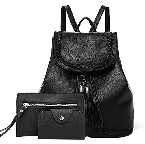 Women 3pcs Linen Backpack Rabbit Crossbody Bag Clutch Composite Shoulder Bagpack Bags Set