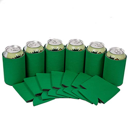 QualityPerfection 12 Kelly Green Party Drink Blank Can Coolers(12,25,50 Bulk Pack) Blank Beer,Soda Coolies Sleeves | Soft,Insulated Coolers | 30 Colors | Perfect For DIY Projects,Holidays,Events
