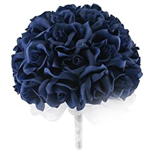Navy Blue Silk Rose Hand Tie (36 Roses) - Silk Bridal Wedding Bouquet 8